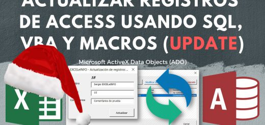Modifcar registros de Base de Access desde Excel usando SQL Query, VBA y ADO