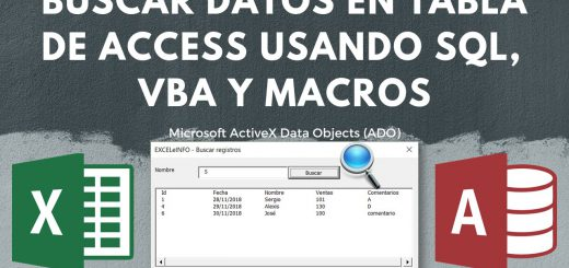 Buscar registros en tabla de Access desde Excel usando SQL Query, VBA y ADO