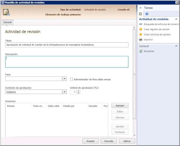 Plantilla de solicitud de cambio de mensajería en SCSM 2012