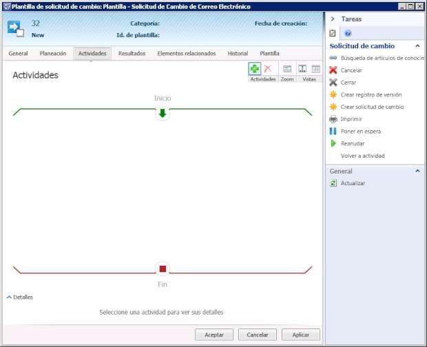 Plantilla de solicitud de cambio de Correo Electrónico en SCSM 2012