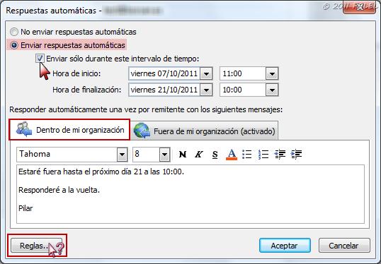 Outlook 2010 exchange asistente para fuera de oficina for Fuera de oficina en ingles