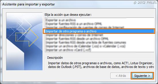 Importar de otro programa o archivo