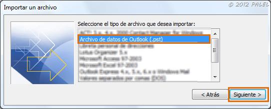 Tipo de archivo: PST