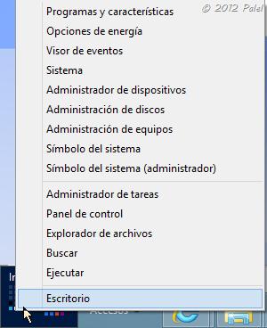 Menú Inicio de Windows 8 - submenú