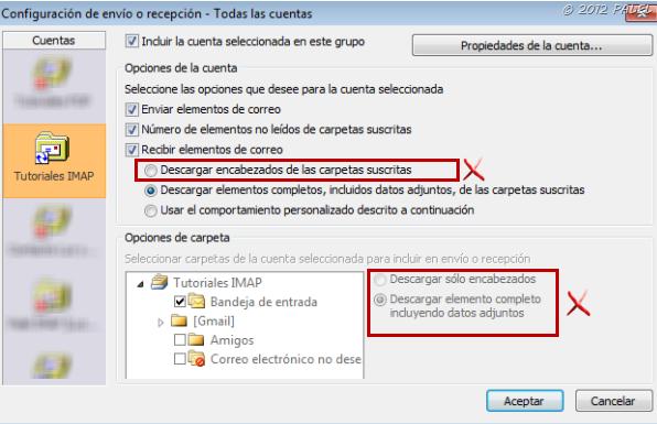 Envío y recepción en Outlook 2010