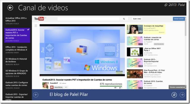 Aplicación mostrando el Canal de vídeos