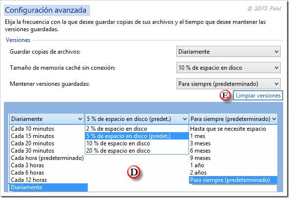 Historial de archivos - Configuración avanzada