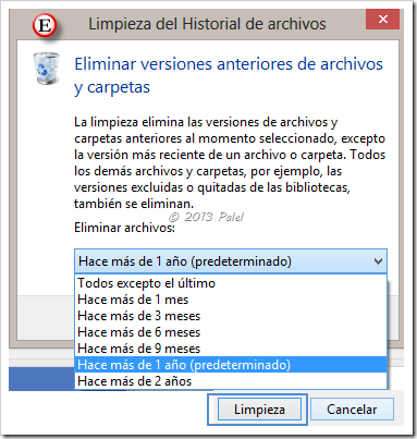 Historial de archivos - Limpieza de versiones