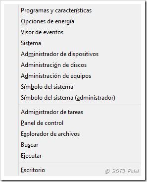 Opciones al pulsar la tecla Windows + X
