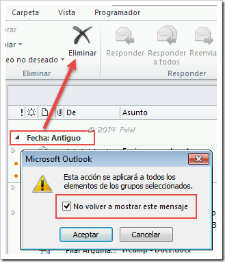 Outlook avisos de confirmación - Palel