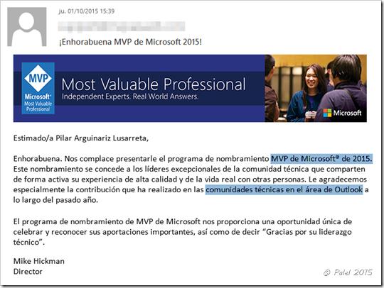Reconocimiento Microsoft MVP Outlook 2015 - palel.es