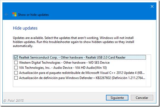 Windows 10 - Ocultar/Mostrar actualizaciones