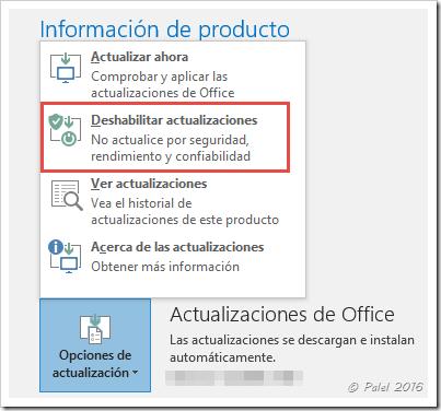 Deshabilitar actualizaciones - palel.es