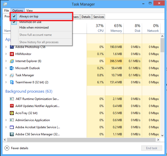 Arreglar administrador de tareas Windows 8