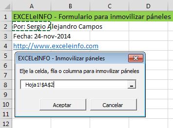 Inmovilizar páneles de todas las hojas de un archivo de Excel mediante un formulario vba