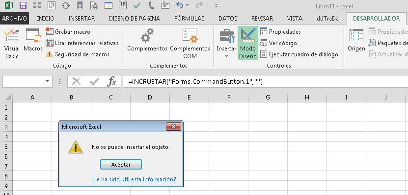 Controles ActiveX deshabilitados en Excel después de aplicar actualización