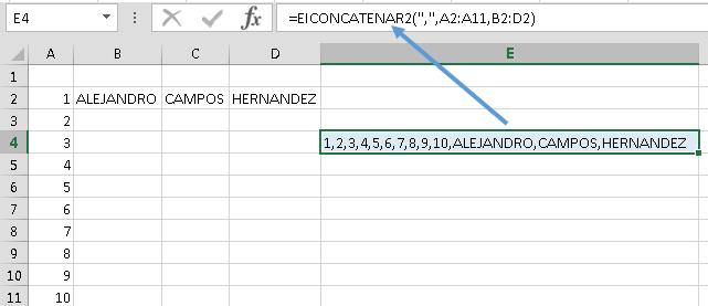 Actualización: Función EXCELeNFO CONCATERNAR2 con separador y rangos no adyacentes para Excel