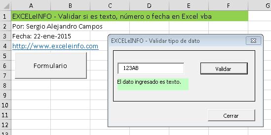 Validar si es texto, número o fecha en Excel vba