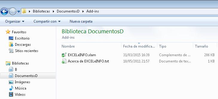 Instalar EXCELeINFO add-in o cualquier complemento de Excel