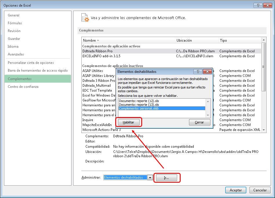 No se abre automáticamente el archivo PERSONAL.xlsb al iniciar Excel