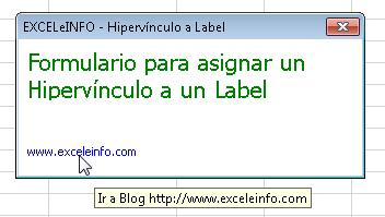 Asignar Hipervínculo a Label dentro de un formulario de Excel vba