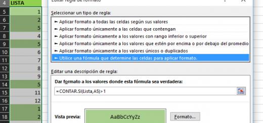 Video tutorial Uso de fórmulas en Formato condicional en Excel