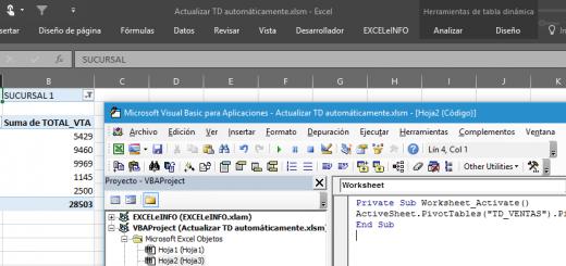 Actualizar automáticamente una Tabla dinámica en Excel usando macros
