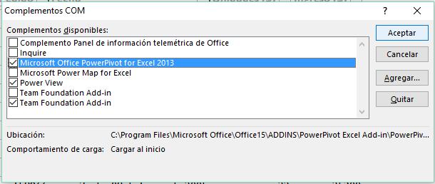 Complementos COM en Excel