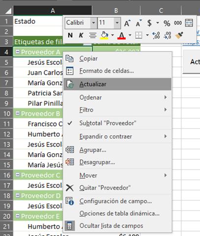 Actualizar Tabla dinámica en Excel