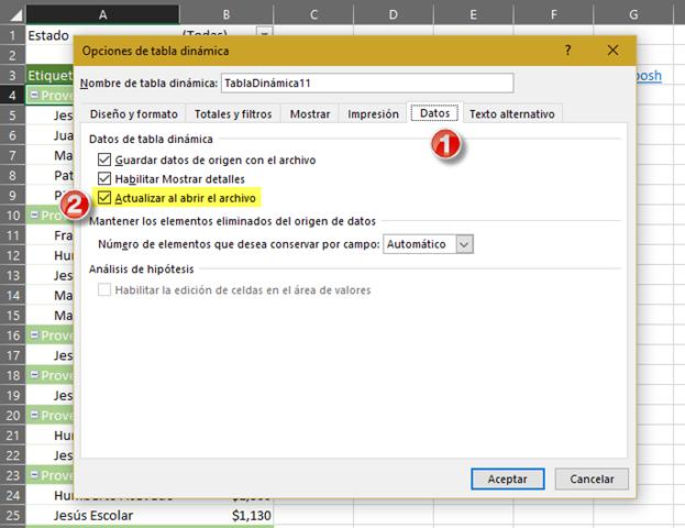 Actualizar tabla dinámica al archivo el archivo
