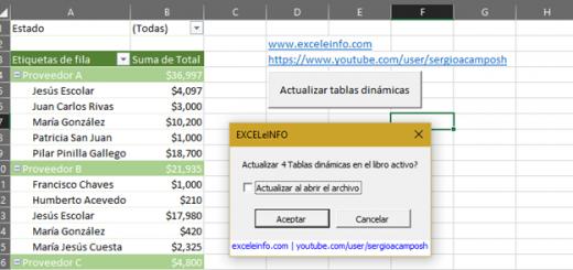 Macro VBA para actualizar todas las Tablas dinámicas de un archivo en Excel