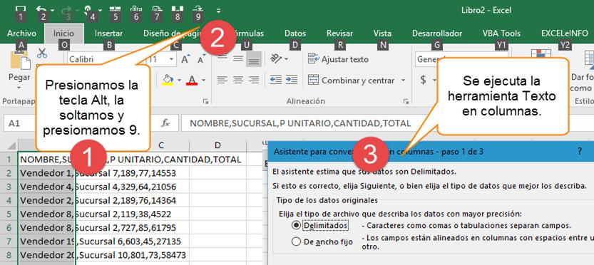 Combinaciones de teclas para ejecutar opciones de la barra de herramientas de acceso rápido