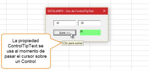 Formularios más amigables con la propiedad ControlTipText en Excel vba