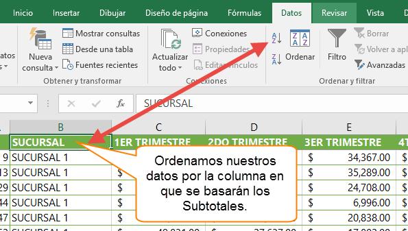 Ordenamos nuestros datos por la columna en que se basarán los Subtotales.