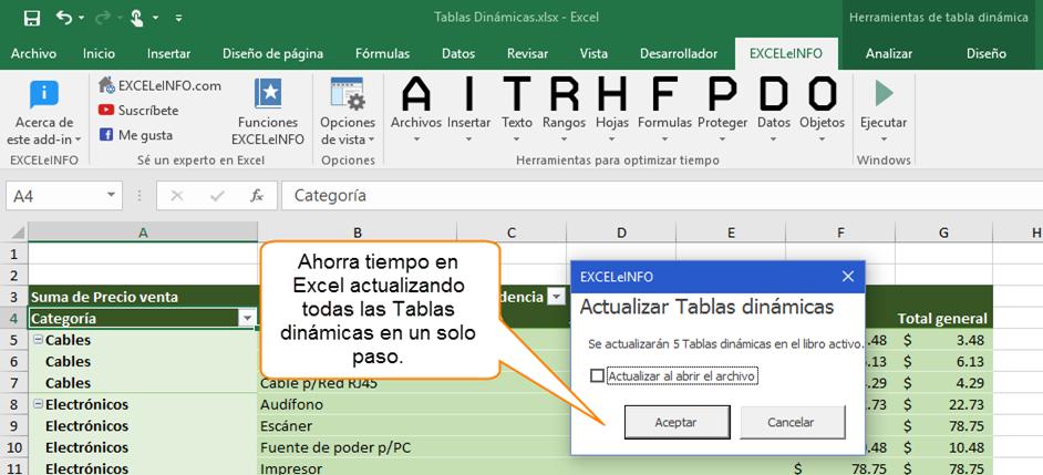 Ahorra tiempo en Excel actualizando todas las Tablas dinámicas en un solo paso.
