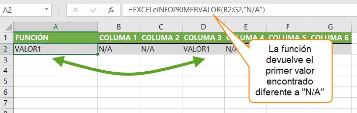 """La función devuelve el primer valor encontrado diferente a """"N/A"""""""