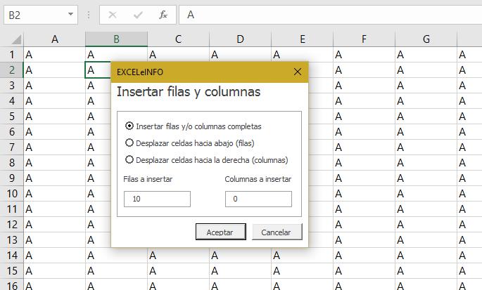 Insertar n cantidad de filas y/o columnas