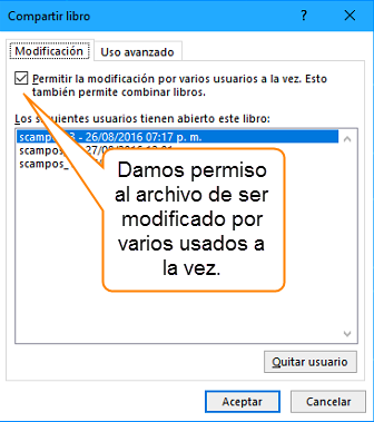 Damos permiso al archivo de ser modificado por varios usados a la vez