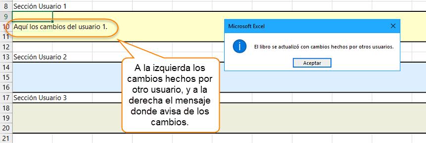A la izquierda los cambios hechos por otro usuario, y a la derecha el mensaje donde avisa de los cambios.