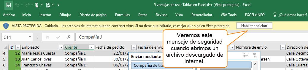 Veremos este mensaje de seguridad cuando abrimos un archivo descargado de Internet.