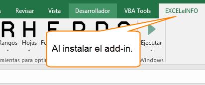 Al instalar el add-in.