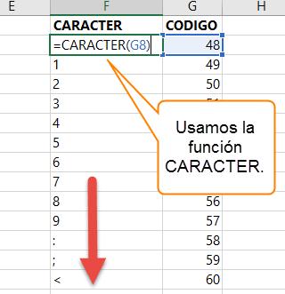 Usamos la función CARACTER en base a los códigos de la columna G.