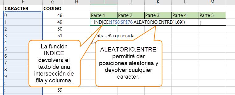 Combinamos INIDICE con ALEATORIO.ENTRE para traer valores de una lista códigos de manera aleatoria.
