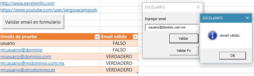 Validar email en Excel con vba