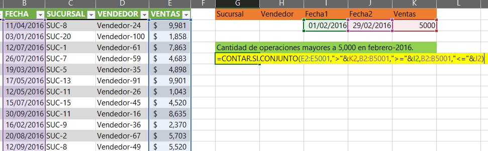 Usando la función CONTAR.SI.CONJUNTO.