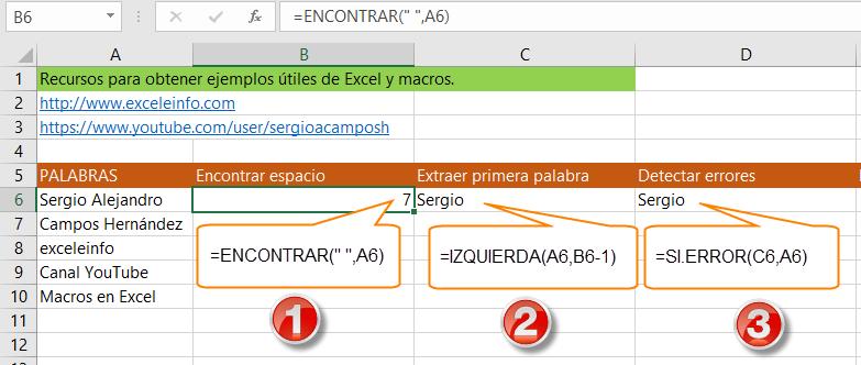 Pasos para extraer la primera palabra de una celda de Excel usando fórmulas.