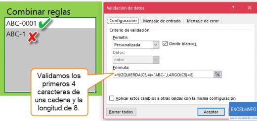 Validación de datos en Excel - Parte #4 - Combinando reglas básicas