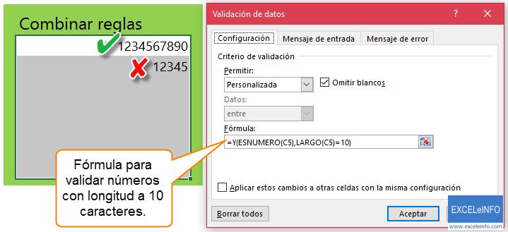 Fórmula para validar números con longitud a 10 caracteres