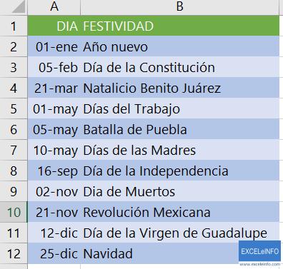 Lista de días festivos en México