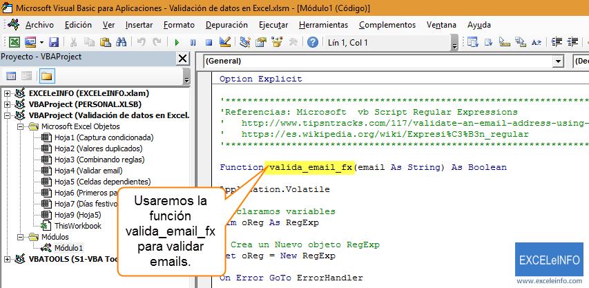 Usaremos la función valida_email_fx para validar emails.